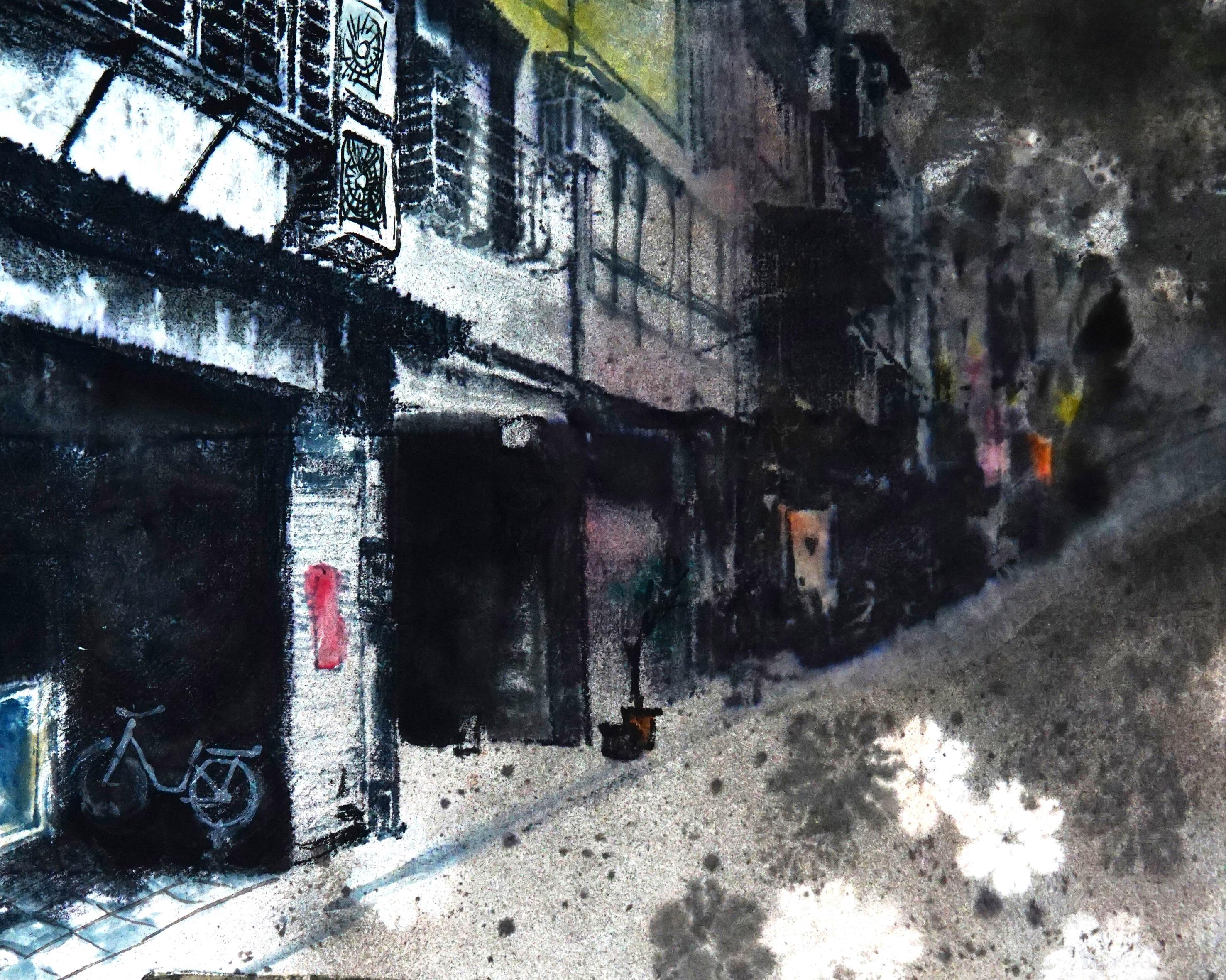 凌空掇月~謝弘志個人水墨畫展作品賞析-街景