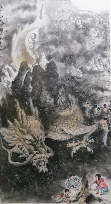 凌空掇月~謝弘志個人水墨畫展作品賞析-龍