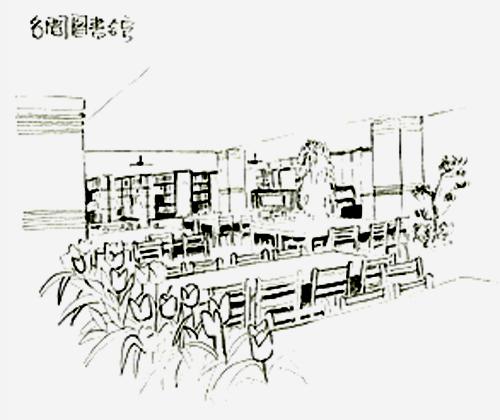 Image-南投縣名間鄉立圖書館內部素描